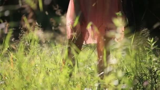 Dívka, která nosí lehké letní šaty procházky v oblasti slunečného dne venku