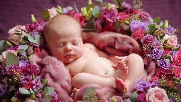 Roztomilý novorozenec holčička spí v květech