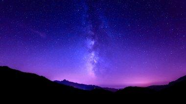 Milky Way on mountain background. night sky stars