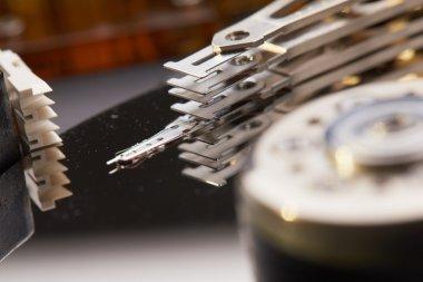 Hard disk closeup. Computer part stock vector