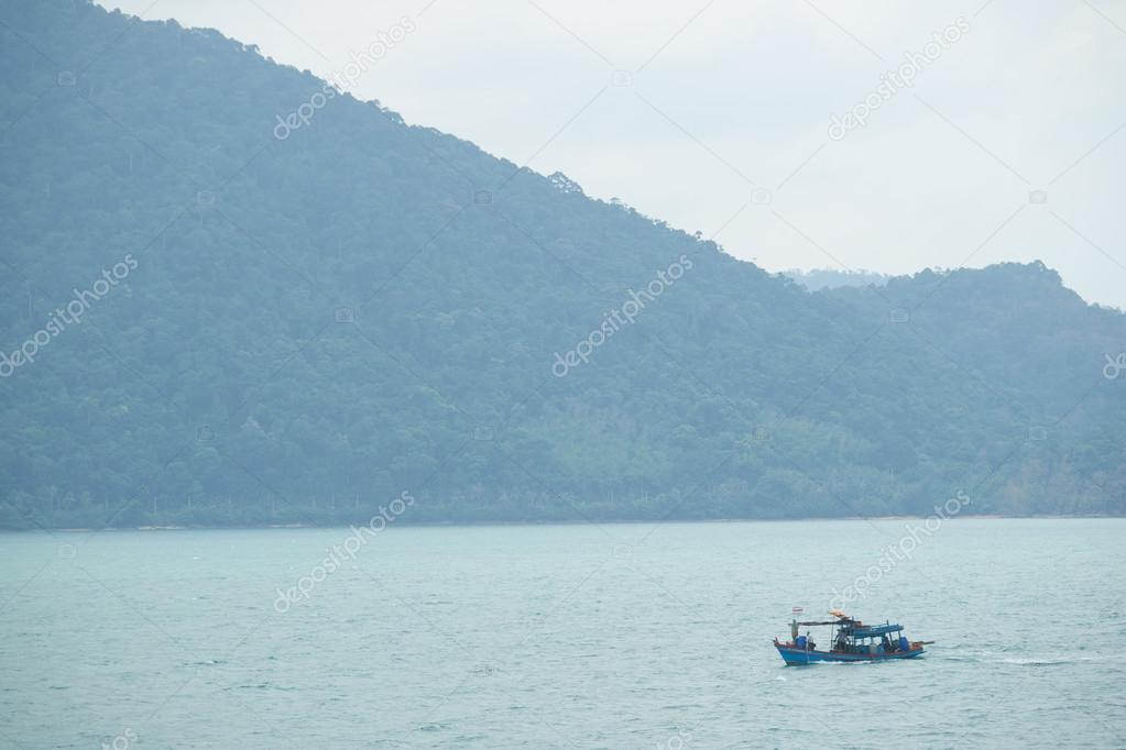 Beautiful seascape with boat in Thailand