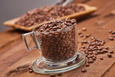 Fresh roasted coffee beans in cup