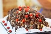 Fotografie Kirschkuchen mit Schokolade