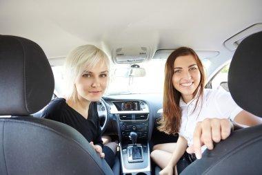 happy girls in car
