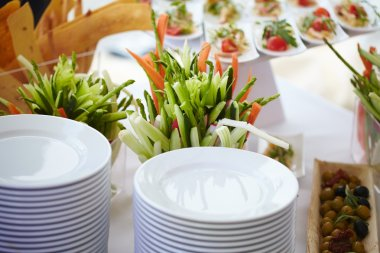preparation of dishes for buffet