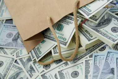 money out of paper bag