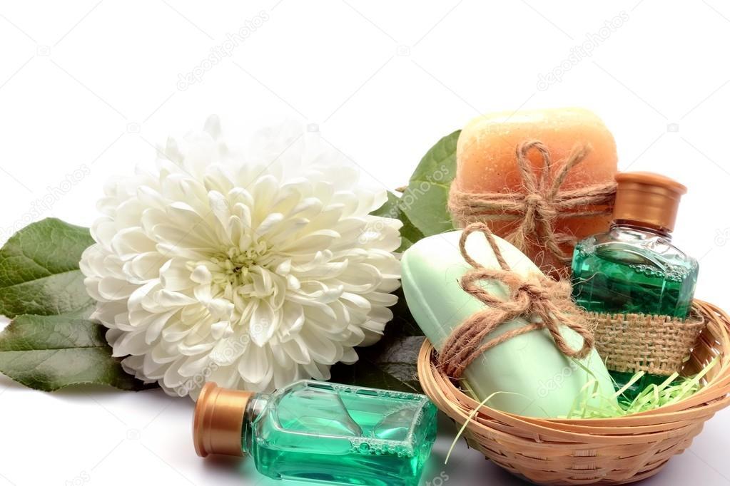 Oggetti per sapone di saune e vasche da bagno spa e Dalia fiore su ...
