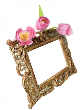 Vintage gilded frame for congratulations on the Great, flowers, tulips and space for text on a white backgroun