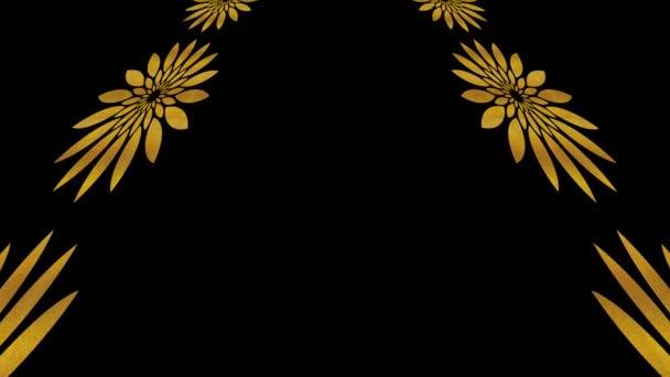 Art-Deco-Goldmuster auf schwarzem Hintergrund, der sich nach oben neigt und nach unten bewegt, bestehend aus typischen geometrischen Formen, im 4K- und 16: 9-Videoformat.