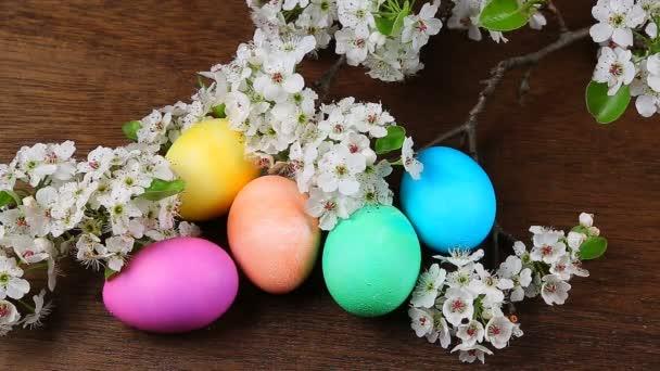 Velikonoční vejce na kvetoucí větve stromu