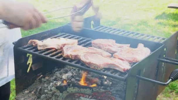 Vepřový steak na otevřeném ohni, 4k