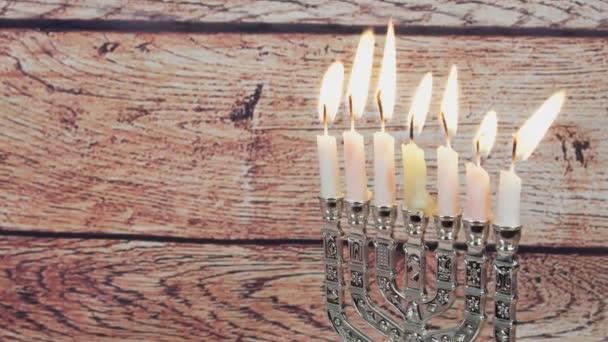 Jewish holiday hannukah symbols - menorah and wooden dreidels. hannukah, holiday, jewish