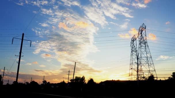 Electricity pylon beautiful late evening sunset sunset sky Electrical