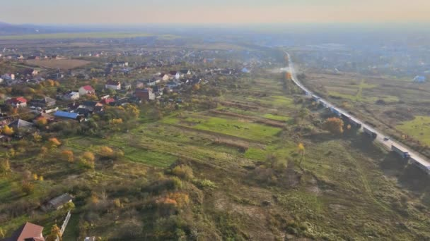 Overview to small village in autumn day