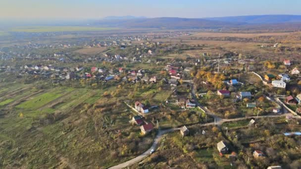 Aerial landscape of village in Ukraine among the forest