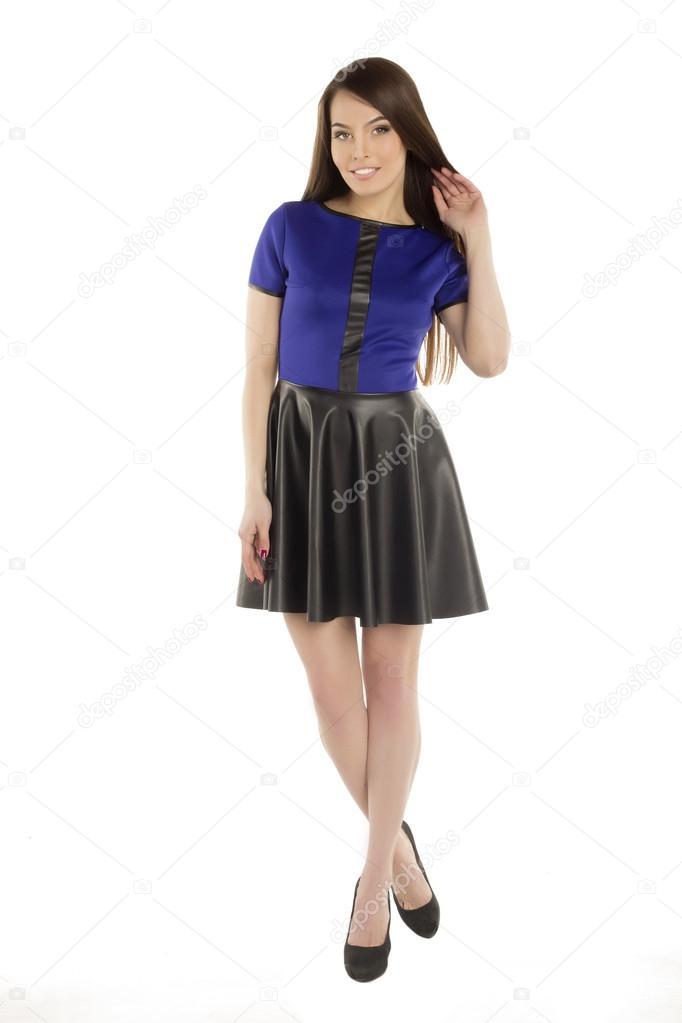 Vestido preto com lenco azul