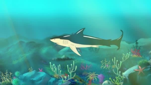 Víz alatti cápa. Motion grafika