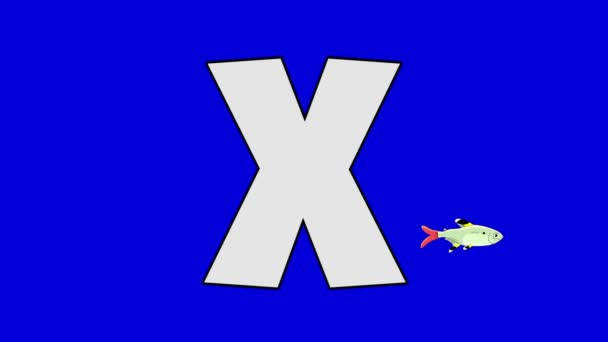 Písmeno X a rentgenové ryby (pozadí)