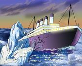 Fotografia Affondamento nave e Iceberg nellOceano Atlantico