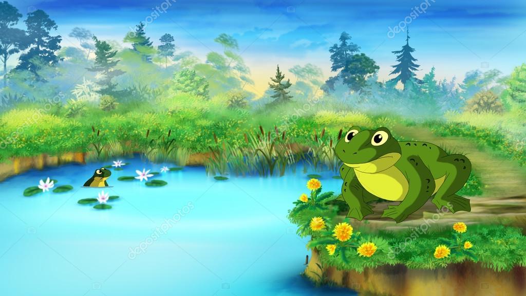 rana verde cerca de un estanque foto de stock zarevv