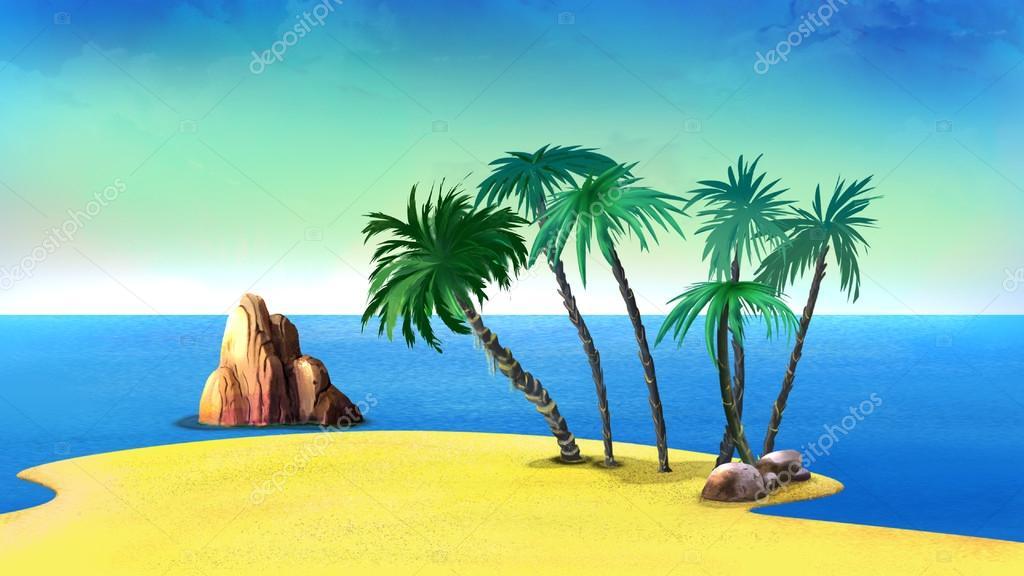 Palme su una costa deserta dell isola tropicale u foto stock