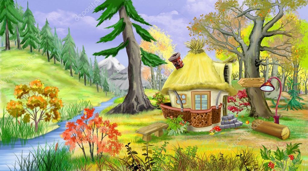 Домик в лесу рисунок для детей