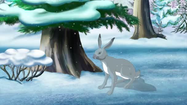 Gray Bunny in Winter