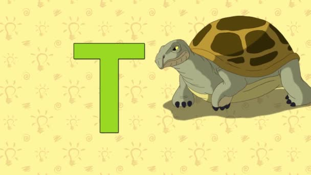 Turtle. English ZOO Alphabet - letter T