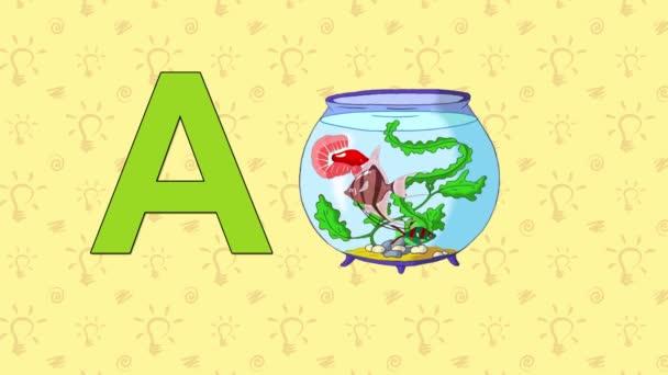 Akvárium. Anglická abeceda Zoo - písmeno A