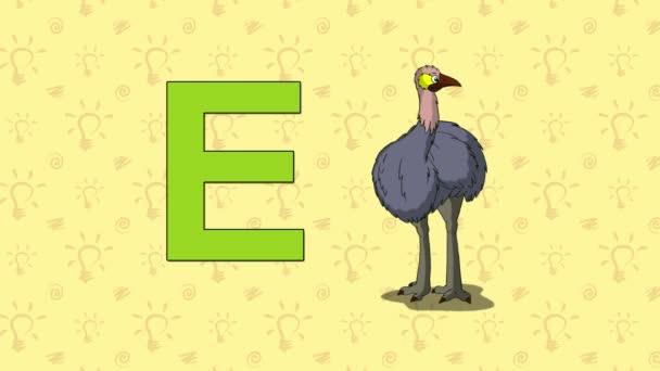 EMU. Anglická abeceda Zoo - písmeno E