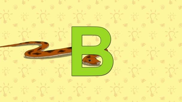 Boa. Anglická abeceda Zoo - písmeno B