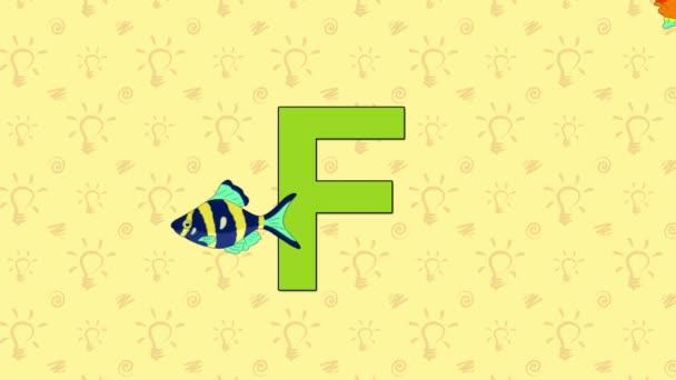 Ryby. Anglická abeceda Zoo - písmeno F