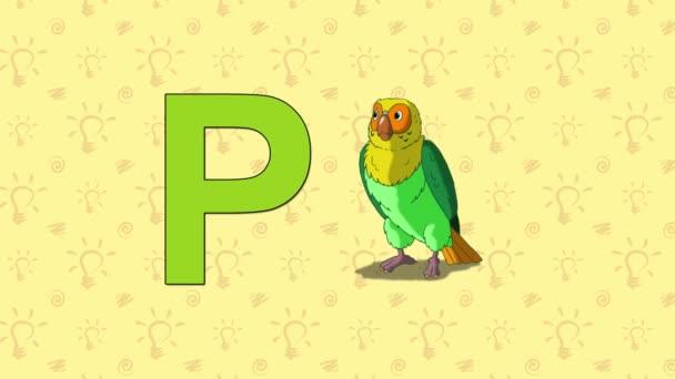 Papoušek. Anglická abeceda Zoo - písmeno P