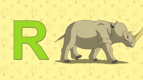 Rhino. English ZOO Alphabet - letter R