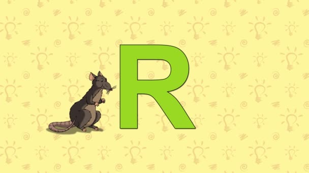 Krysa. Anglická abeceda Zoo - písmeno R
