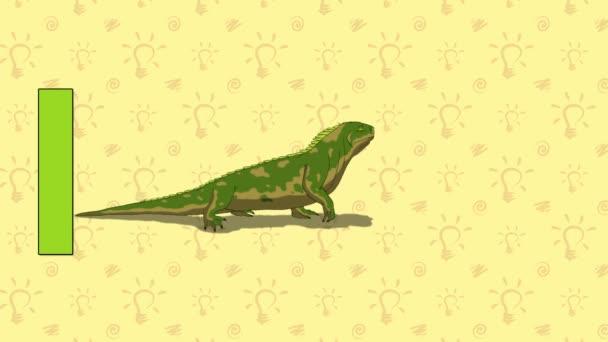 Iguana. English ZOO Alphabet - letter I