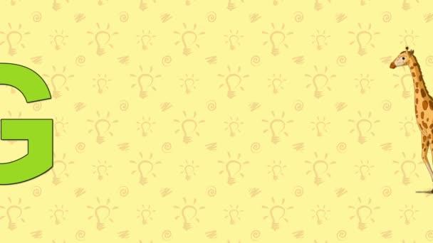 Žirafa. Anglická abeceda Zoo - písmeno G