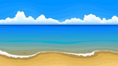 Sea beach with clouds on horizon