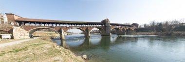Pavia, covered bridge over the river Ticino