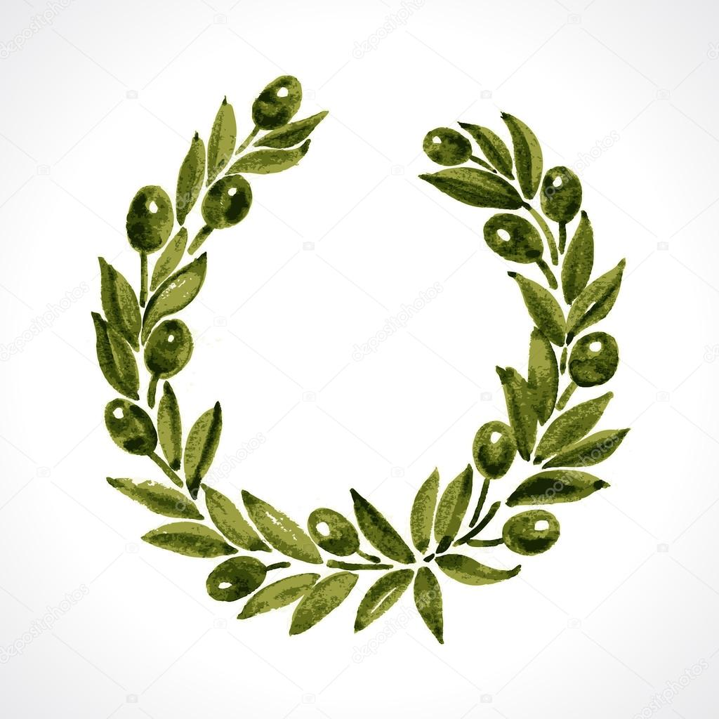Aquarelle laurel wreath and olive branch