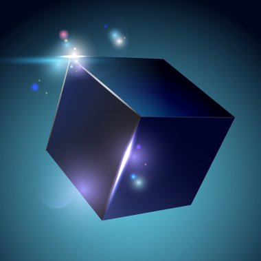 Cube on blue with lights