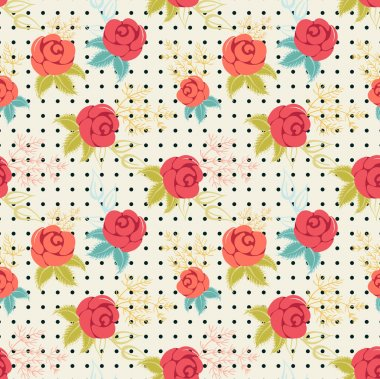 pattern with of red and pink roses