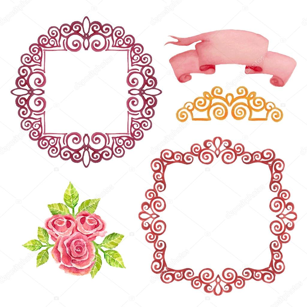 frames and ribbons for a romantic design ストックベクター