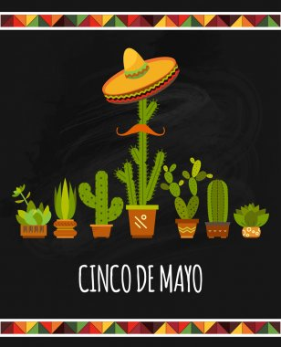 Independence Day Of Mexico card with cartoon cactuses. Cinco de mayo - mexican holiday vector poster clip art vector