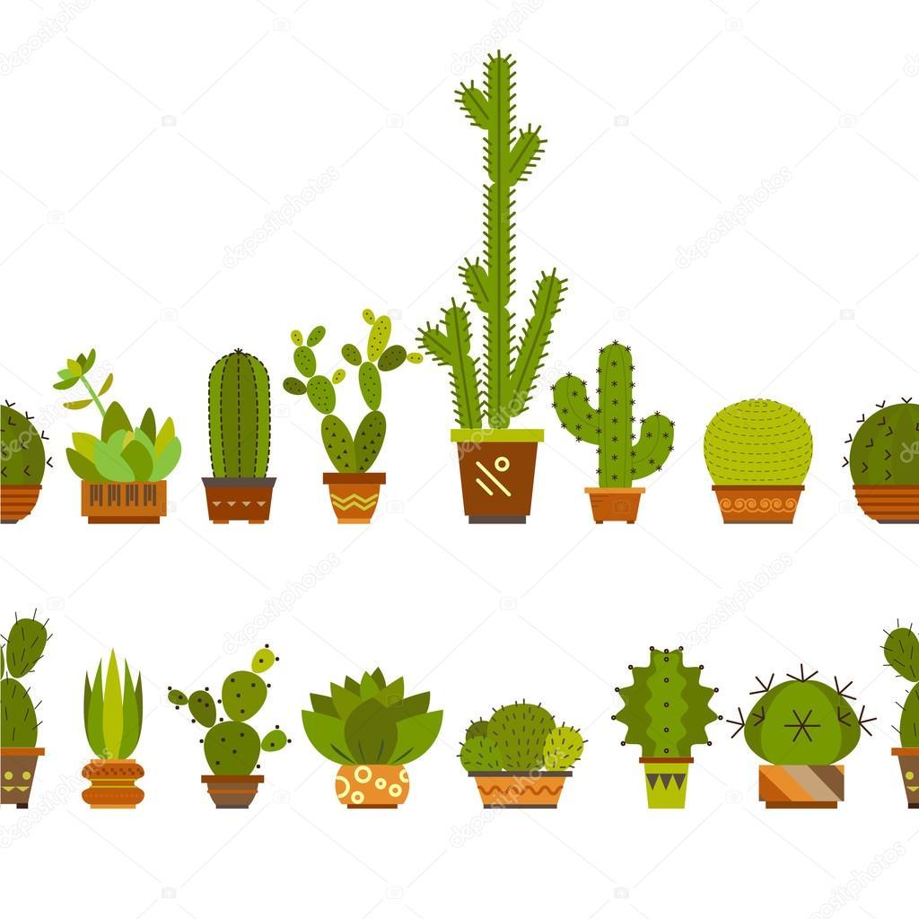 cartoon border with cactus