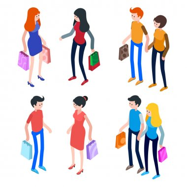 Isometric people, men and women with shopping bags.