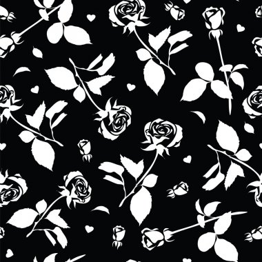 Black and white pattern of silhouettes of roses.