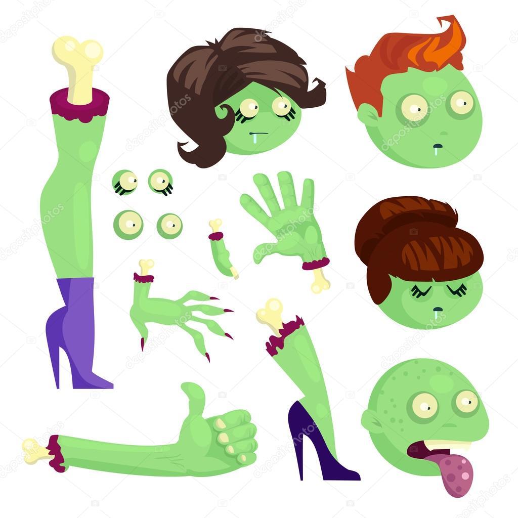 Conjunto de partes del cuerpo de un zombies — Vector de stock ...