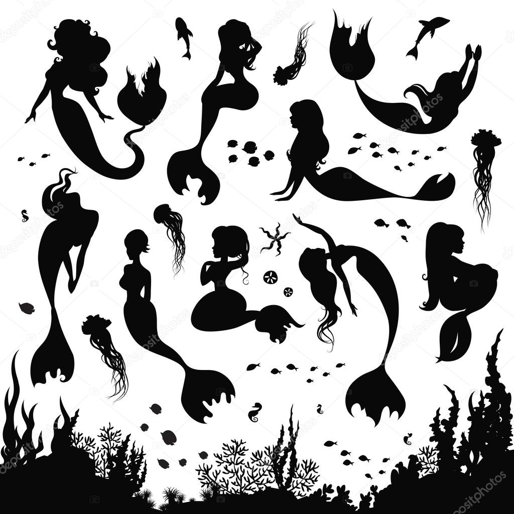 Set of silhouettes of mermaids and sea animals.