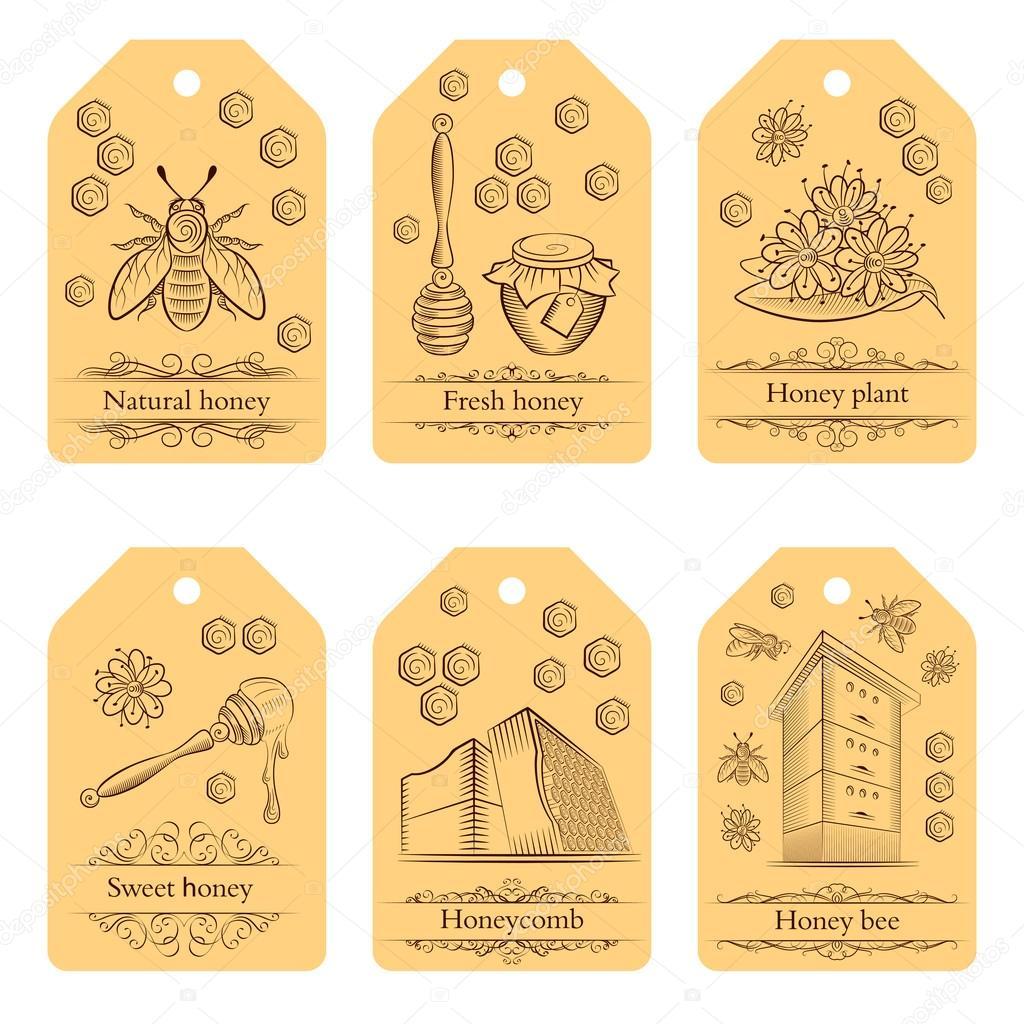 Zestaw Etykiet Z Doniczki Miód Pszczoły I Kwiaty